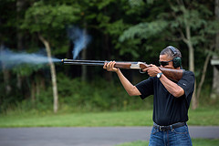 President Obama skeet shooting at Camp David  last August 2012.