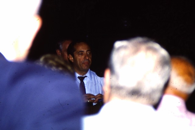 The late Gov. Mario Cuomo speaks at an Executive Mansion BBQ reception for the Democratic State Committee (1986).